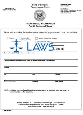 Form 399 Articles of Incorporation-Louisiana Business