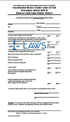 Form Uncontested Divorce Under Code of Civil Procedure Article 969 B