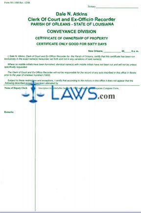 Certificate of Ownership of Property - Louisiana Forms - | Laws.com