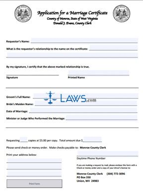 Form Application for a Marriage Certificate - Monroe County