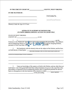 Form 12 Affidavit in Support of Motion for Ex Parte Order Limiting Access to Court File