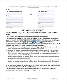 Form SCA-FC-106 Financial Statement for Petitioner