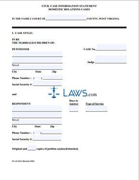 Form SCA-FC-103 Civil Case Information Statement for