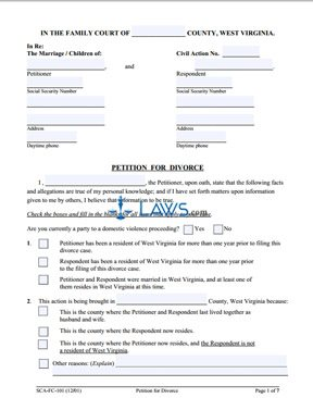 Form SCA-FC-101 Petition for Petitioner