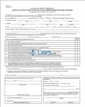 Form Application for Concealed Pistol / Revolver License