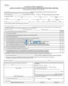 Form Application for Concealed Pistol / Revolver License