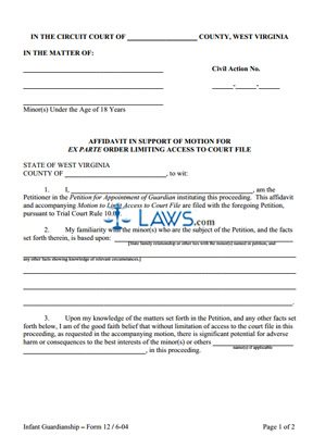 Affidavit in Support of Motion for Ex Parte Order Limiting Access to Court File (Circuit Court only)