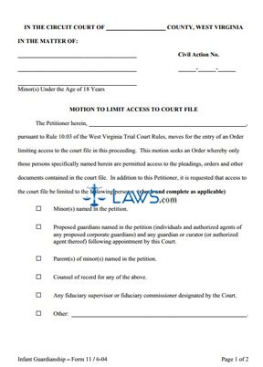 Motion to Limit Access to Court File (Circuit Court only)