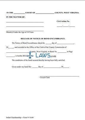 Release of Notice of Bond Encumbrance