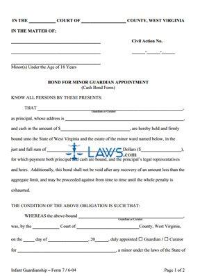 Bond for Minor Guardian Appointment (Cash Bond Form)