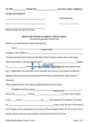 Bond for Minor Guardian Appointment (Personal Recognizance Bond Form)