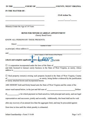 Bond for Minor Guardian Appointment (Surety Bond Form)