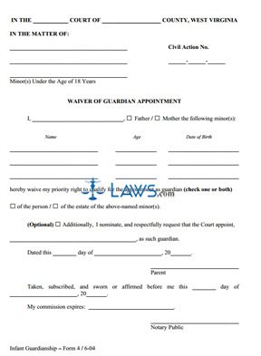 Waiver of Guardian Appointment