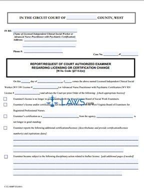 Report/Request of Court Authorized Examiner Regarding Licensing Change