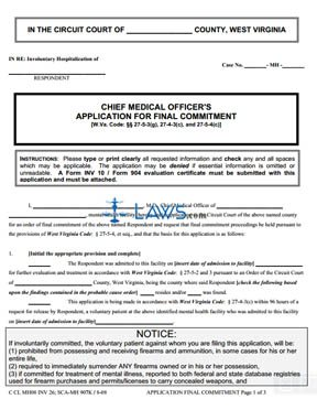 Chief Medical Officer's Application for Final Commitment