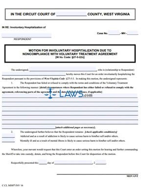 Motion for Hospitalization Due to Non-Compliance with VTA