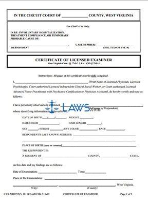 Certificate of Examiner