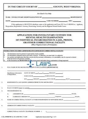 Application for Incarcerated Individual's Mental Health Examination under WV Code 27-5-2