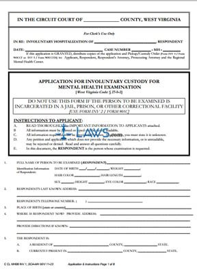 Application for Involuntary Custody for Mental Health Examination with Important Information to Appe