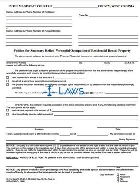 PETITION FOR SUMMARY RELIEF WRONGFUL OCCUPATION OF RESIDENTIAL RENTAL PROPERTY