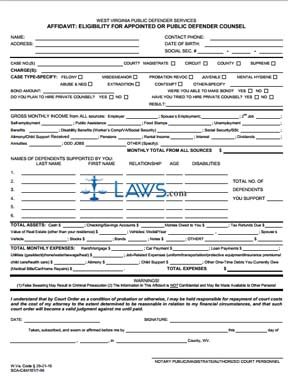 AFFIDAVIT: ELIGIBILITY FOR APPOINTED OR PUBLIC DEFENDER COUNSEL