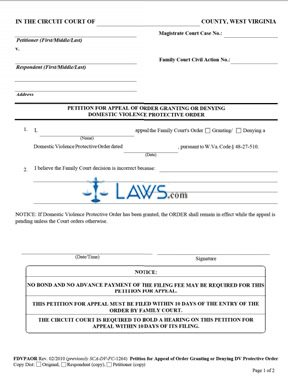 Petition: For Appeal of Order Granting or Denying Domestic Violence Protective Order