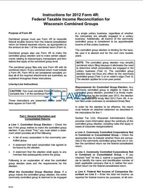 Form 4R Federal Taxable Income Reconciliation for Wisconsin Combined Groups Instructions