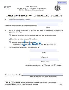 Form 510 Articles Of Dissolution - Limited Liability Company