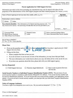 Form Parent Application for Child Support Services