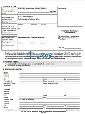 Form FA-4139 Financial Disclosure Statement