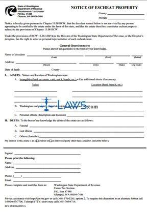 Form Notice of Escheat Property