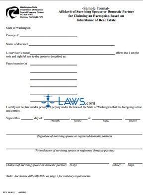 Form Affidavit Of Surviving Spouse Or Domestic Partner For Claiming An  Exemption Based On Inheritance Of  Affadavit Form
