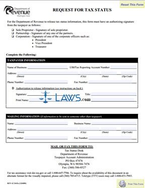 Form Request for Tax Status