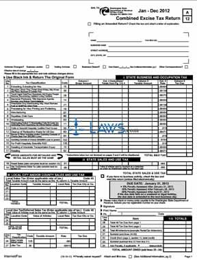 Form Combined Excise Tax Return Washington Forms