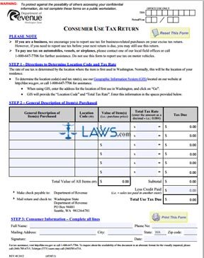 Form Consumer Use Tax Return