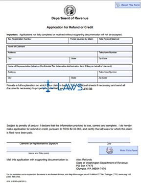 Form Application for Refund or Credit