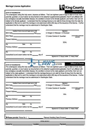 Form King County Marriage License Application