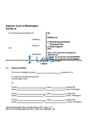 Form PS15-0100 Petition for Child Support