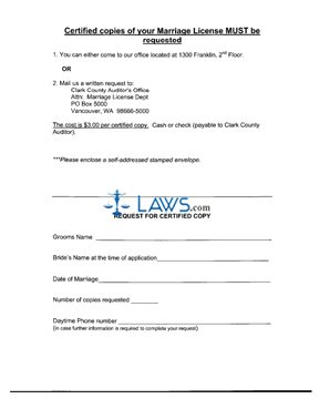 Form Request for Certified Copy Form - Clark County