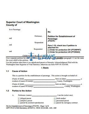 Form PS01-0100 Petition for Establishment of Parentage