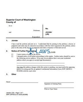 Form DRPSCU1-0330 Joinder