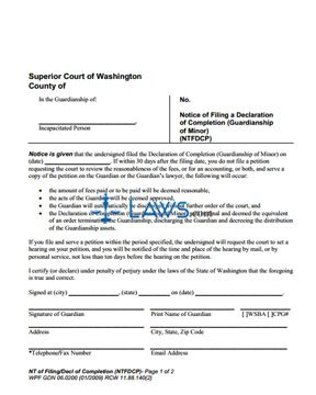 Form WPF-GDN-06-0200 Notice of Filing a Declaration of Completion