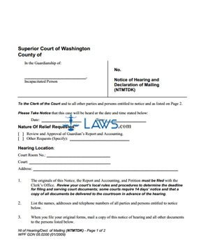 Form WPF-GDN-05-0200 Notice of Hearing and Declaration of Mailing