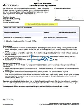 Form DR-500-023 Ignition Interlock Driver License Application