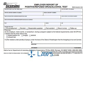 Form DR-500-005 Positive/ Refused Drug/ Alcohol Test Report by Employer