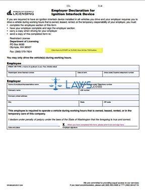 Form DR-500-025 Employer Declaration for Ignition Interlock Device