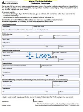 Form DR-500-027 Motor Vehicle Collision Claim for Damages