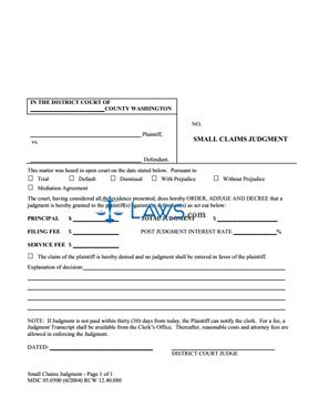 Form MISC 05.0500 Small Claims Judgment