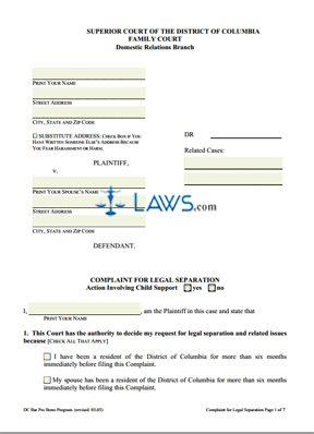 Form Complaint for Legal Separation