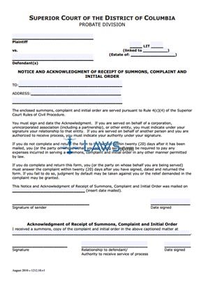 Notice and Acknowledgement of Receipt of Summons, Complaint & Initial Order